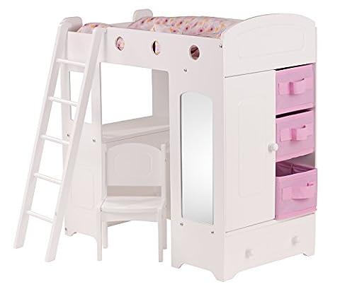 Götz 3402260 Loftbett City Style für Puppen - 13-teilige Wohnkombination für Babypuppen und Stehpuppen bestehend aus Bett- Schrankkombination, Leiter, Stuhl, Kleiderbügel und Bettwäsche - geeignet für Kinder ab 3 Jahren