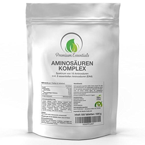 Aminosäuren-Komplex, 500 Tabletten á 1000mg (vegan), hochdosiert für 40 Tage, Alle 18 Aminosäuren inkl. aller 8 essentiellen Aminosäuren, hergestellt in Deutschland, Nachfüllpackung