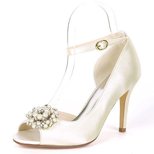 L@yc scarpe da sposa perline da sposa per donna. décolleté in raso con fibbia in punta 9cm, ivory, 36