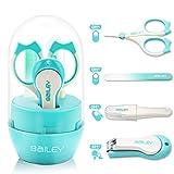 APig Babypflege-Set (4 PCS) - Nagelknipser, Nagelfeile, Plastikpinzette mit Schutzkappe, Nagelschere mit Abgerundete Spitze