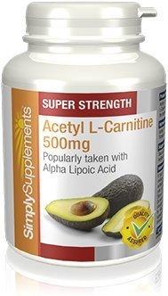 Acetil l-carnitina 500mg - 60 capsule - sufficiente per 2 mesi - conosciuto come brucia grassi - simplysupplements