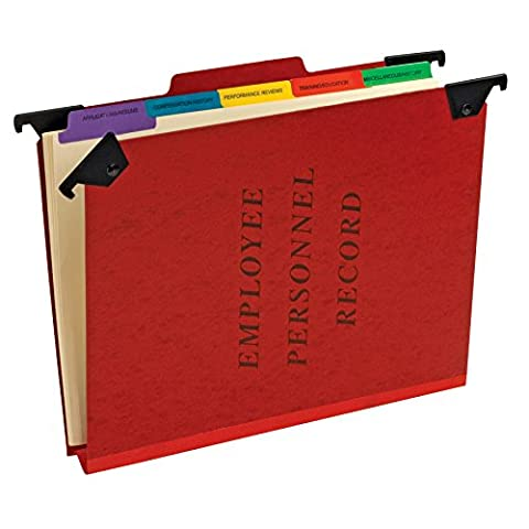 Hanging Personnel Folders, 1/3 Cut Top Tab, Letter, Red, Sold as 1 Each