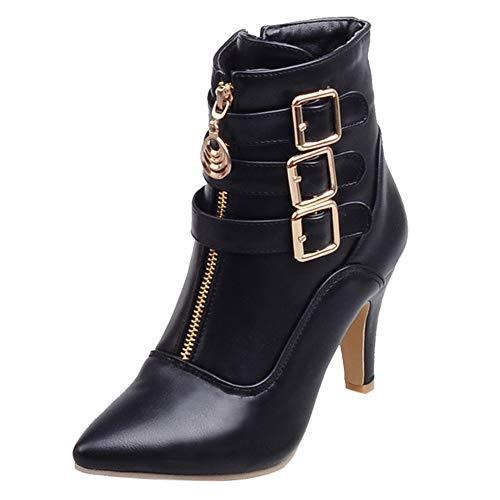 Botte Ete Femme Sheepskin Boots Anna Field Boots,LuckyGirls Bottines Femme Cuir Chaussures Dames Boucle Romaine Plate-Forme Talons Hauts Bottes