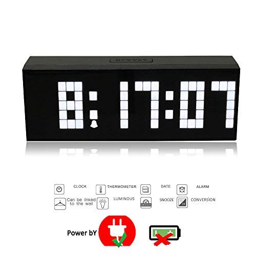 T Tocas Digital Jumbo LED Snooze Wall Desk Indoor Clocks w/ Alarm, Calendar, Thermometer (White)