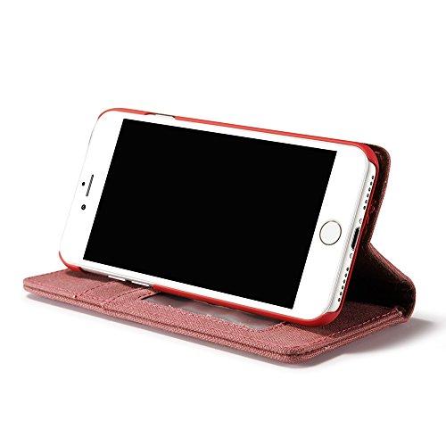 CaseMe Coque Protection Waterproof Jeans Cloth Leather Cover Flip Wallet Case pour iPhone 7 Rouge