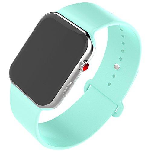 HILIMNY Compatible para Correa Apple Watch 38MM, Suave Silicona Correa Compatible para iWatch Series 3, Series 2, Series 1 (Verde mar, 38MM-ML)