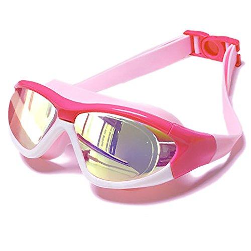 Kinder Wasserdichte Nebelbrille - Junge und Mädchen HD Transparente Beschichtung Große Schwimmbrille Kombination - Badekappe Nasenklammer Schwimmen Ohrstöpsel Rucksack Kombination 4 Farbe Optional