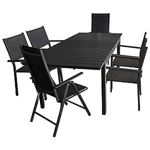 7tlg. Gartengarnitur - Aluminium Ausziehtisch, 160/210x95cm, Polywood Tischplatte + 4x Stapelstuhl + 2x Hochlehner, 7-fach verstellbar, Schwarz - Gartenmöbel Terrassenmöbel Sitzgruppe Sitzgarnitur