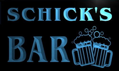 w005437-b-schicks-nom-accueil-bar-pub-beer-mugs-cheers-neon-sign-biere-enseigne-lumineuse