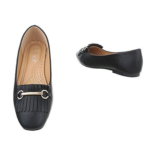 Ital-Design Chaussures Femme Mocassins Bloc Slippers Noir