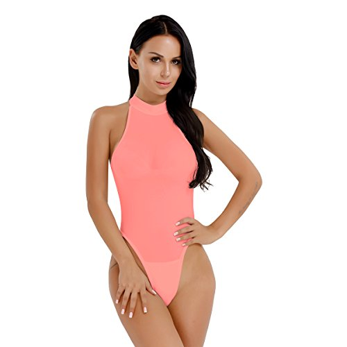 CHICTRY Transparent Damen Dessous Rollkragen Stringbody High Cut Einteiler Bodysuit Thong Leotard Öffene Schritt Koralle Rosa One Size