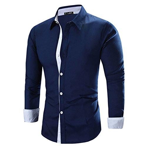 Men's Camisa Masculina Long Sleeve Slim Fit Casual Shirts Navy blue