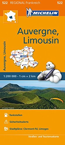 Michelin Auvergne-Limousin: Straßen- und Tourismuskarte 1:200.000 (MICHELIN Regionalkarten)