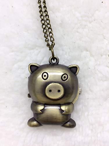 Lindou Taschenuhr mit Cartoon-Schweinchen-Motiv, Legierung