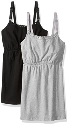 Loving Moments by Leading Lady Damen Cotton Nursing Tank with Lace Trim and Full Sling Schwangerschafts-BH, Black/Gray, 2 Pack, Medium (erPack 2 (Black Lace Top Cami)
