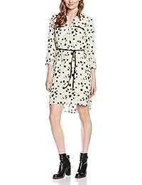 TOM TAILOR Damen Blusen Kleid printed blouse dress, Knielang Elfenbein (alabaster beige 2016)