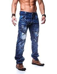 Kosmo Lupo K&M 120 Designer Jeans Homme Cargo Black Bleu Style Clubwear Pantalon W29-W38 / L32-L34