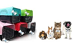The DDS Store Pet Travel Carrier Dog Cat Rabbit Basket Plastic Handle Hinged Door Folding Collapsible Transport Box Crate Cage Size 19.5x13x12.5 Inch for Puppy Cats (RED)