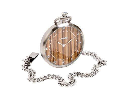 LAiMER Holzuhr - Taschenuhr mit Kette aus Edelstahl und Zifferblatt aus Zebrano