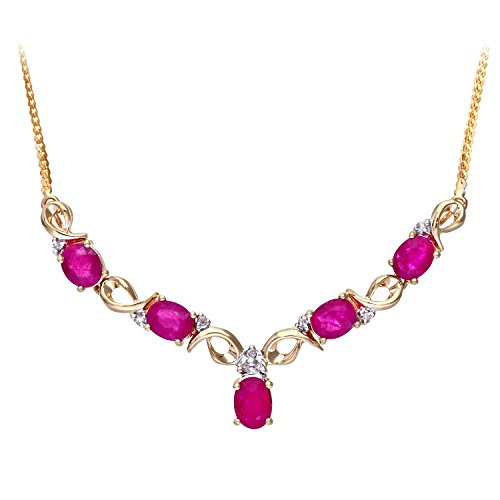 Naava Women's  Prong Set Herringbone Chain of 46 cm Length, 0.04 ct Diamond Weight, Diamond and Ruby 9 ct Yellow Gold Necklace