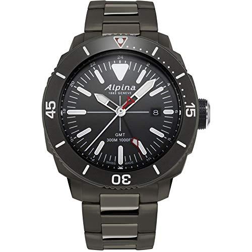 Alpina Geneve Seastrong Quartz GMT AL-247LGG4TV6B Reloj de Pulsera para Hombres