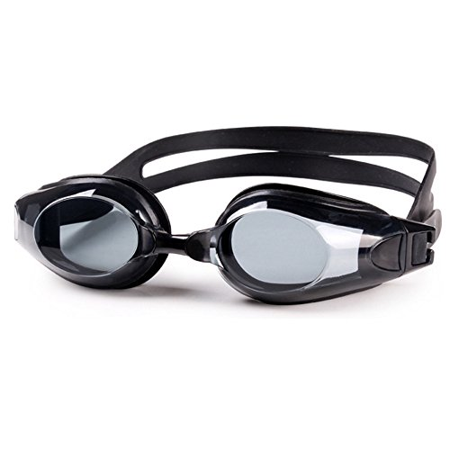 EnjoySports klassische myopische optische Schwimmbrille, Unisex, Anti-Beschlag-Brille, gespiegelt, Leistungs-Schwimmbrille, Dioptrien: -1,0 bis -9,0 L Schwarz