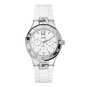Reloj Guess W10615L1 de cuarzo para mujer con correa de silicona, color blanco de Guess