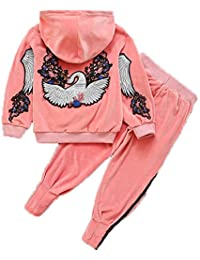 bb6875943ba Monvecle Little to Big Girls 2pcs Warm Hoodie Velour Sweatshirt Top + Jogger  Pants Tracksuit Set