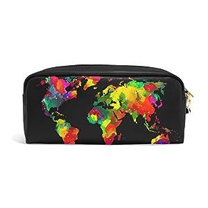 zzkko Watercolor de mapa del mundo funda de piel cremallera lápiz pluma estacionaria bolso de la bolsa de cosméticos bolsa bolso de mano