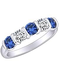 4bdc4b3f5d3a Amazon.es  anillos de compromiso oro blanco - Zafiro  Joyería