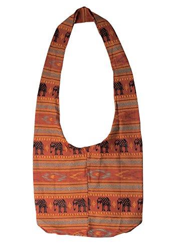 Lofbaz Mujer Elefante Spiral Crossbody Algodón Boho Bolsa Elephant Marrón claro Talla...