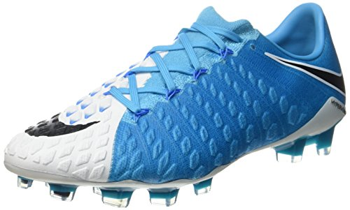 Nike 852567-104 | Hypervenom Phantom III FG, Chaussures de Football Homme, Bleu Weiß (White/Blue)