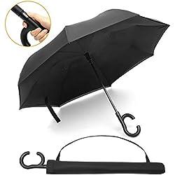 Pathonor Parapluie Inversé Auto Ouvert Parapluie Canne Anti-UV Double Couche Parapluie Canne Mains Parapluie Automatique