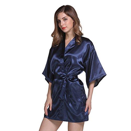 Damen Morgenmantel Kimono im Edler Satin Kurz Robe Bademantel Nachtwäsche Sleepwear V Ausschnitt mit Gürtel Marine 2XL -