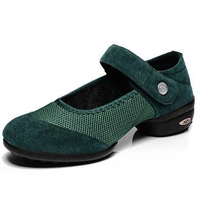 Silence @ Chaussures de danse pour femme en daim daim Dance Sneakers/Chaussures de swing/piste de danse Sneakers Plat Heelpractice/débutant/ Red