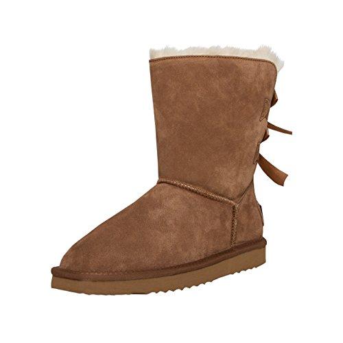 SKUTARI Leder - Damen Winterstiefel Gefüttert Bow Boots Schneestiefel Schleife (37, Camel 3) (Flache Stiefel Fransen Mokassin)