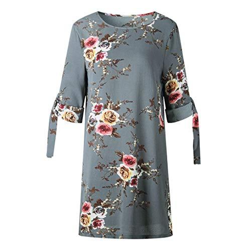 MIRRAY Damen Lässige Blumendruck Bowknot Ärmeln Cocktail Minikleid Partykleid
