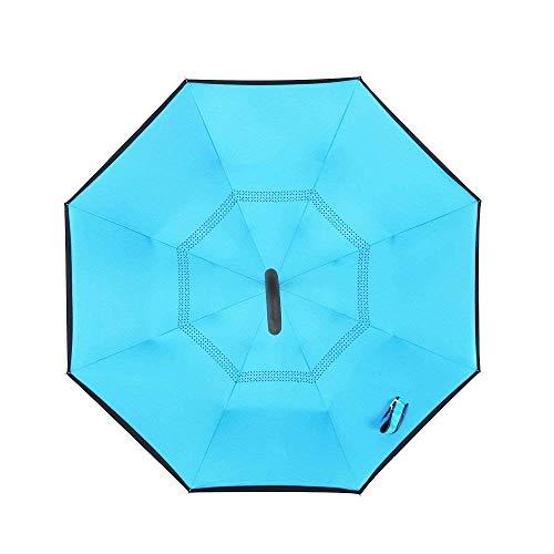Bp@ ombrello pieghevole con meccanismo di apertura riverso invertito utilissimo in caso di pioggia rovesciato, le mani a forma di c reverse parasol libera della maniglia doppio strato antivento auto all'aperto (106 cm) (blue)