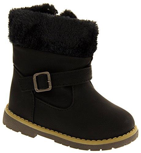 Kiddiflex Filles Superbes bottes d'hiver Casual en faux cuir Noir