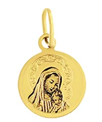 Idea Regalo - Ciondolo Madonna Maria con Gesù Bambino oro 333Ciondolo 8KT