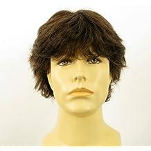 Peluca hombre cabello 100% natural marrón con pelo blanco DANY 6SPW