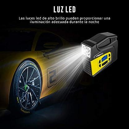 YABER Compresor de Aire Coche, 12v Inflador de Coche con Pantalla LCD y Luz LED, Bomba de Aire Coche Presión Máxima 150PSI con 3 Adaptadores Boquilla Apto