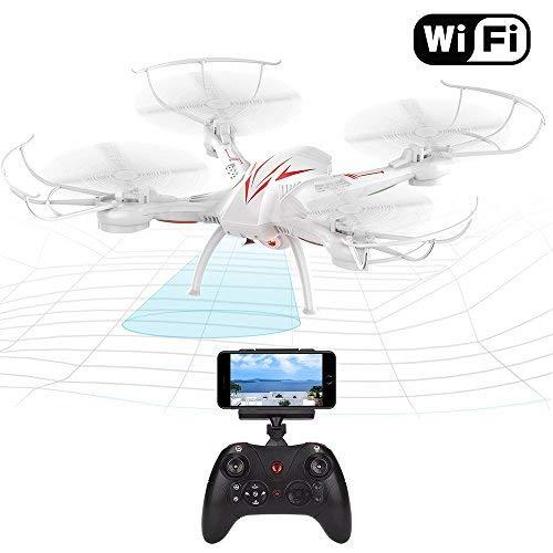 Beebeerun WiFi FPV RC Quadcopter drone con camera Live video 2.4 GHz 6-gyro modalità headless One-Key funzione altitude Hold VR headset-compatible Gravity induzione danno resistenza (white)