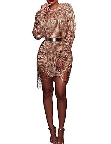 Minetom Femmes Été Casual Sexy Robes Manches Longues Col Rond Net Grille Tenue Cocktail Soirée Clubwear Blouse Tunique Mini Dress Or rose FR 40