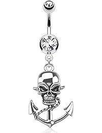 Schwarzer Totenkopf Bauchnabel Piercing Schmuck mit vielen Kristallen Gothic