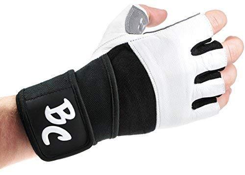 Bad Company Fitness Handschuhe White Men I Trainingshandschuhe aus Leder I Inkl. Handgelenkstütze