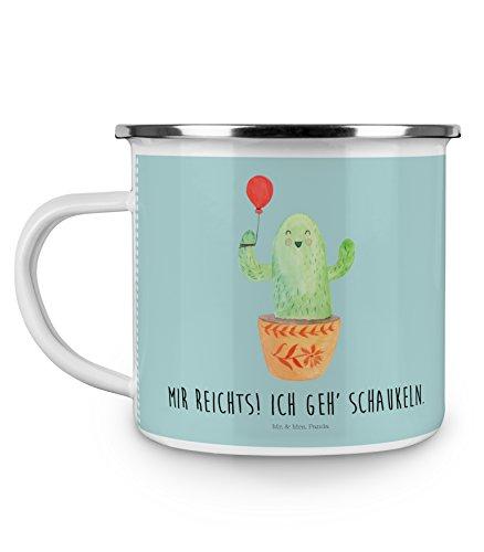 Stress Kaffeebecher (Mr. & Mrs. Panda Emaille Tasse Kaktus Luftballon - 100% handmade in Norddeutschland - Kaffeetasse, Kakteen, , Camping, Büroalltag, Tasse, Freund, Neustart, Kaffeebecher, Freude, Kaktus, Stress)