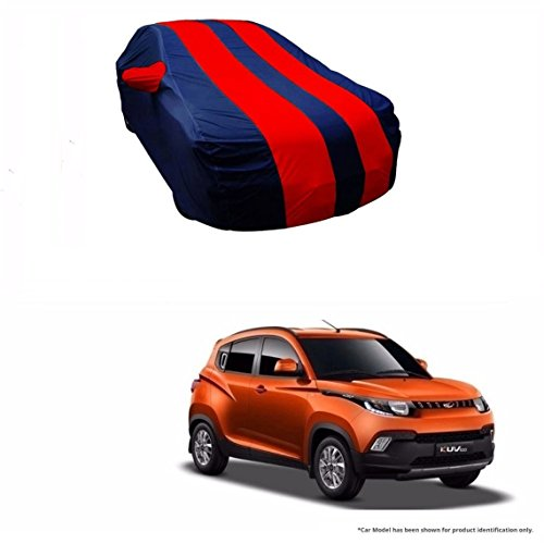 MotRoX Dual Tone Stripe Car Body Cover For Mahindra KUV100 (Navy Blue with Red Stripe)