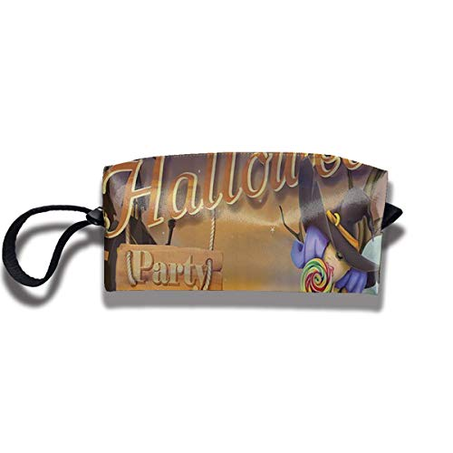 TRFashion Toiletry Bag Happy Halloween Witch PumpkinsStorage Bag Beauty Case Wallet Cosmetic Bags Aufbewahrungstasche Kosmetiktasche (Mädchen Halloween-make-up Witch)