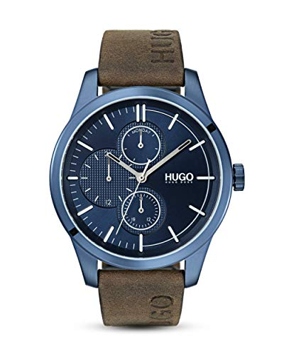 HUGO Discover Watch with Brown Leather Strap - 1530083